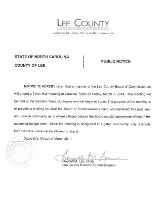 NOTICE - TOWN HALL MEETING - CAROLINA TRACE (2)