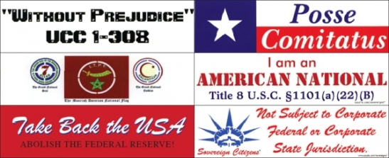 Bumper stickers associated with the sovereign citizens movement (photo from the Southern Law Poverty Center)